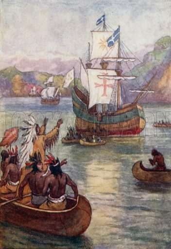 French explorer Jacques Cartier's arrival in the St … stock image   Look  and Learn