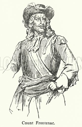 Count Louis de Buade de Frontenac (1622–1698), Governor General of New France from 1672 to 1682. Illustration from Peeps at History: Canada, by Beatrice Home (A&C Black Ltd, London, 1924).