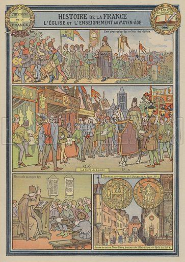 The church and education in medieval France. Illustration from Histoire de France (Maison de la Bonne Presse, Paris, c1935).