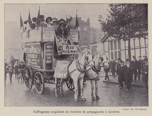 British suffragettes campaigning on the streets of London. Illustration from La Femme dans la Nature, dans les Moeurs, dans la Legende, dans la Societe, Volume 4, by V du Bled, Jules Clarette, Camille Pert and Marcel Prevost (Maison d'Edition Bong & Cie, Paris, c1908).
