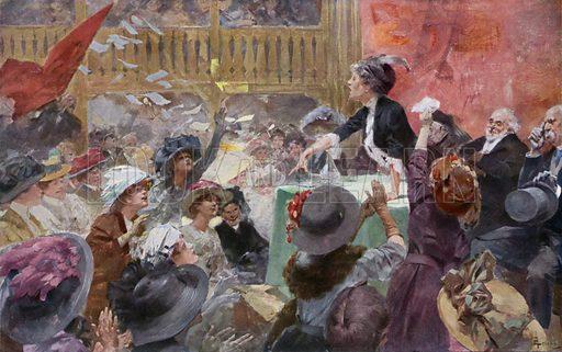 Suffragettes meeting during an election campaign Illustration from La Femme dans la Nature, dans les Moeurs, dans la Legende, dans la Societe, Volume 4, by V du Bled, Jules Clarette, Camille Pert and Marcel Prevost (Maison d'Edition Bong & Cie, Paris, c1908).