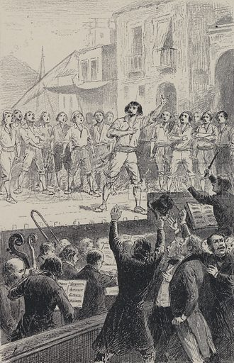 Singing of Amour Sacre de la Patrie in a performance of Daniel Auber's opera La Muette de Portici, 1828. Illustration from Les Legendes de l'Art: Musiciens (Librairie d'Education A Hatier, Paris, c1890).