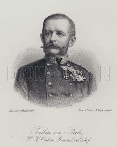 Friedrich von Beck-Rzikowsky (1830-1920), Austrian general. Illustration from Allgemeine Moden-Zeitung (Leipzig, 1881).