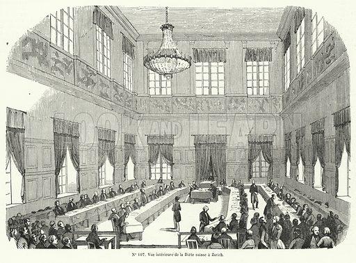 Session of Tagsatzung, the Swiss Federal Diet, in Zurich. Illustration from Journees Illustrees de la Revolution de 1848 (Bureau de l