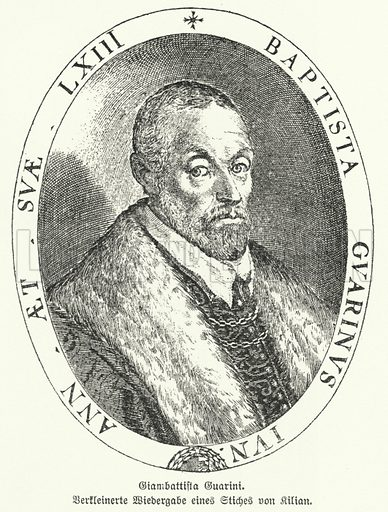 Giambattista Guarini (1538-1612), Italian poet, dramatist and diplomat. Illustration from Illustrierte Geschichte der Wellitteratur, by Dr Johannes Scherr (Frank sche Verlagsbuchhandlung, Stuttgart, c1895).