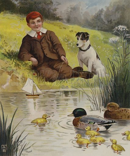 A quiet sail: a boy playing with his toy boat on a duckpond. A quiet sail. Illustration from The Prize for Boys and Girls (Wells, Gardner, Darton & Co, Limited, 1906).