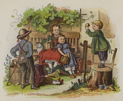 Group of children playing outdoors. Illustration from Shnick Shnack - Trifles for Little Ones (George Routledge and Sons, London and New York, c1870).
