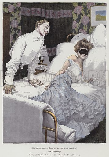 Man talking to a masked woman in bed, 1905