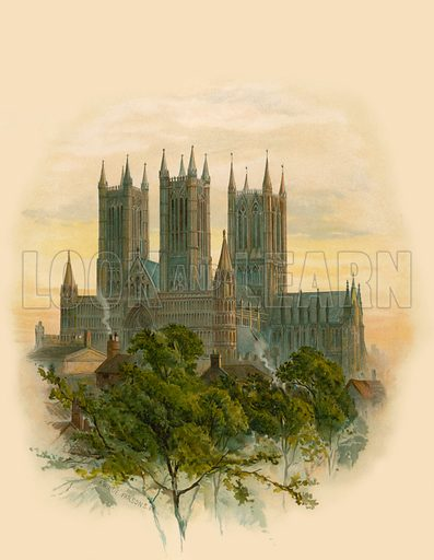 Lincoln Cathedral, South West.  Illustration from The Cathedrals of England and Wales by Charles Whibley (Ernest Nister, 1888).