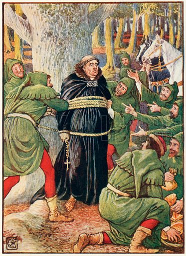 The abbot of Saint Maries taken by Robin Hood. Illustration from Robin Hood and the Men of the Greenwood by Henry Gilbert (Jack, c 1912).