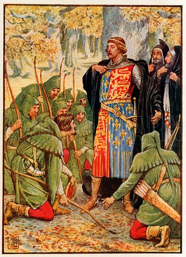 Robin Hood and his men kneel to the King