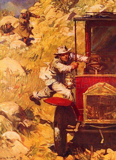 picture, W R S Stott, painter, illustrator, artist, car, leap, gunshot