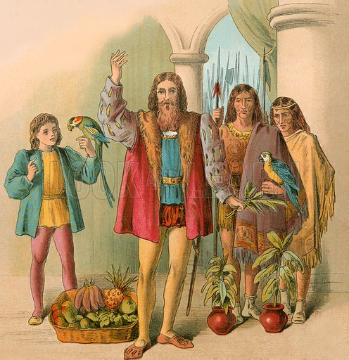 picture, Christopher Columbus, New World, America, Native Americans, Indians, parrot, fruit