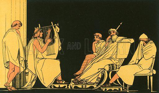 Ulysses weeps at the song of Demodocus