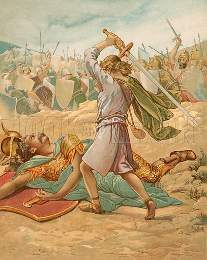 David about to slay Goliath. Illustration from God is Love by Mrs L Haskell (Ernest NIster and EP Dutton, c 1890).