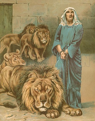 Daniel in the lions' den. Illustration from God is Love by Mrs L Haskell (Ernest NIster and EP Dutton, c 1890).