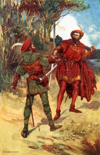 Richard I and Robin Hood. Illustration from Highroads of History series (Thomas Nelson, c 1920). NB: Scan of small illustration.