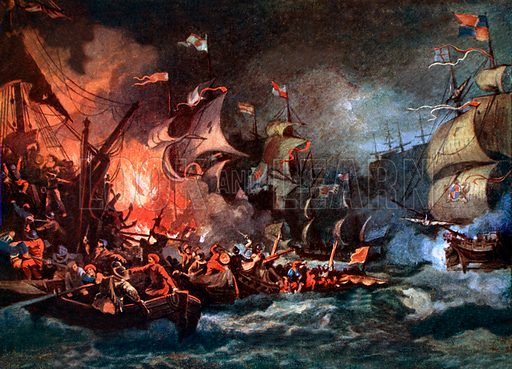 The defeat of the Armada. Illustration from Highroads of History series (Thomas Nelson, c 1920). NB: Scan of small illustration.