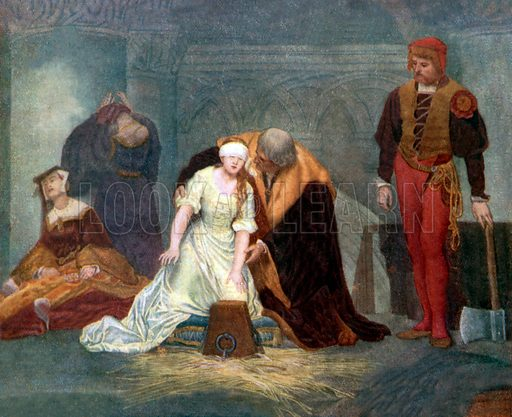 Execution of Lady Jane Grey. Illustration from Highroads of History series (Thomas Nelson, c 1920). NB: Scan of small illustration.