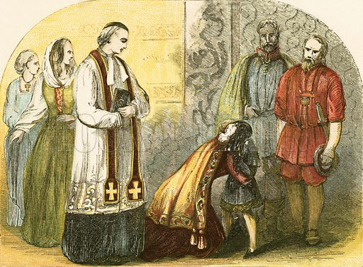The queen of Edward IV, parting with the young Duke of York. Illustration from History of England by Henry Tyrrell (c 1860).