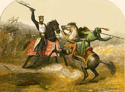Encounter between Richard I and Saladin. Illustration from History of England by Henry Tyrrell (c 1860).