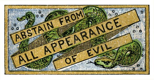 Abstain from all appearance of evil. From The Illuminated Scripture Text Book by Edmund Evans (Frederick Warne, 1872).