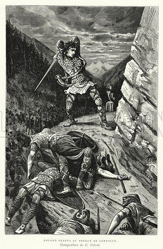 Roland Frappa Au Perron De Sardoine. Illustration for Les Chroniqueurs de l'Histoire de France by Madame de Witt (Hachette, 1883).