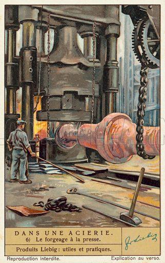 Steelworks.  Liebig educational card, early 20th century.