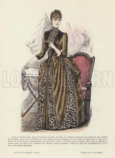 French fashion plate.  Illustration for L'Art Et La Mode, Journal de La Vie Mondaine, 1885-86.