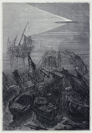 """""""The Nautilus returned to the deep waters with its accustomed speed."""" Illustration for Twenty Thousand Leagues Under The Sea by Jules Verne (Sampson Low, c 1914)."""