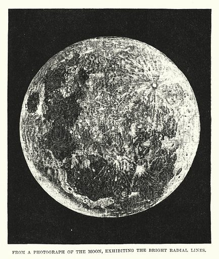 From a Photograph of the Moon, exhibiting the Bright Radial Lines. Illustration for James Nasmyth, Engineer, An Autobiography edited by Samuel Smiles (3rd edn, John Murry 1885).