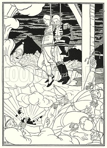 Illustration for The Surprising Adventures of Baron Munchausen illustrated by William Strang and J B Clark (Lawrence and Bullen, 1895).
