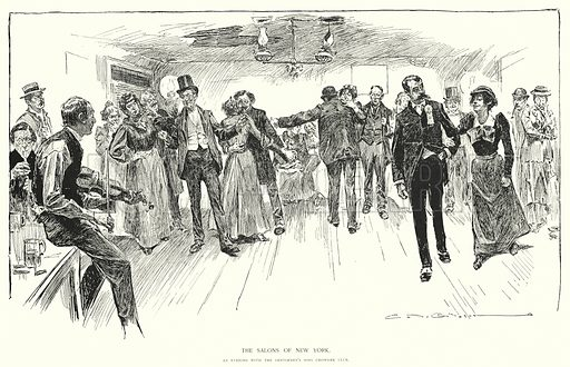 The Salons of New York, an evening with the Gentlemen's Sons Chowder Club. Illustration for Drawings by Charles Dana Gibson (John Lane and R H Russell, 1896).