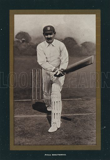 Prince Ranjitsinhji. Illustration for Cricket of To-Day and Yesterday by Percy Cross Standing (Blackwood, Le Bas, c 1902).