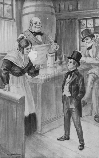 The Boy Dickens orders a Glass of the very best Ale. Illustration for Boys Who Became Famous by F J Snell (Harrap, c 1914).