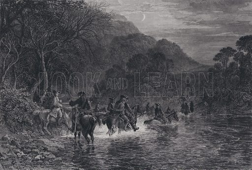 The escape of Rob Roy at the Ford. One of Six Engravings in the illustration of Rob Roy for the Members of the Royal Association for Promotion of the Fine Arts in Scotland, 1868.