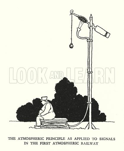 The atmospheric principle as applied to signals in the first atmospheric railway. Illustration for Railway Ribaldry by W Heath Robinson (Great Western Railway, 1935).