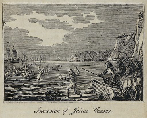 Invasion of Julius Caesar. Illustration for an unidentified history of England, c 1821.