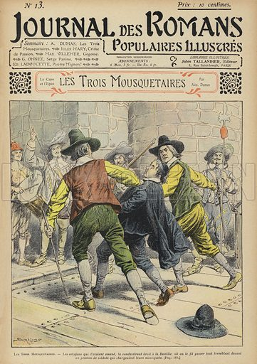 Les Trois Mousquetaires by Alexandre Dumas.  Illustration for Journal des Romans Populaires Illustres (Tallandier, c 1904-08).