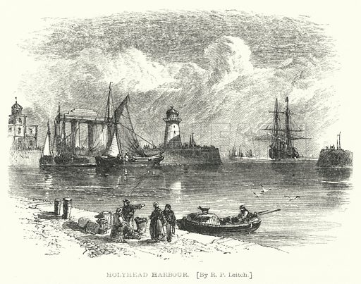 Holyhead Harbour. Illustration for Lives of the Engineers by Samuel Smiles (John Murray, 1862).