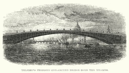 Telford's Proposed One-Arched Bridge over the Thames. Illustration for Lives of the Engineers by Samuel Smiles (John Murray, 1862).