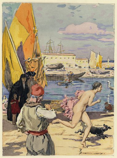 Illustration for Memoires de Casanova de Seingalt (Javal et Bourdeaux, 1931-32).  Wonderfully printed, with no screen.