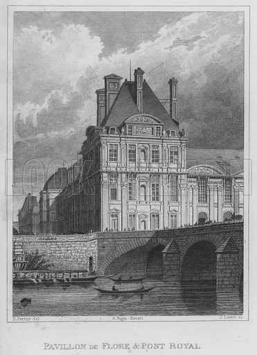 Pavillon De Flore and Pont Royal. Illustration for Paris and its Environs from original drawings taken under the direction of A Pugin, the engravings executed under the superintendence of Charles Heath (Jennings and Chaplin, c 1831).