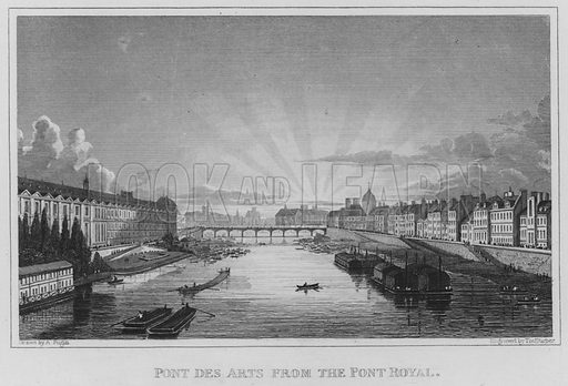 Pont Des Arts from the Pont Royal. Illustration for Paris and its Environs from original drawings taken under the direction of A Pugin, the engravings executed under the superintendence of Charles Heath (Jennings and Chaplin, c 1831).