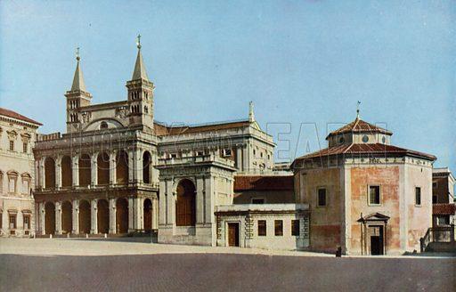 Battistero e Facciata laterale di S Giovanni in Laterano, Baptistery and side Facade of St John Lateran. Illustratation for Ricordo di Roma (Verdesi, c 1930).