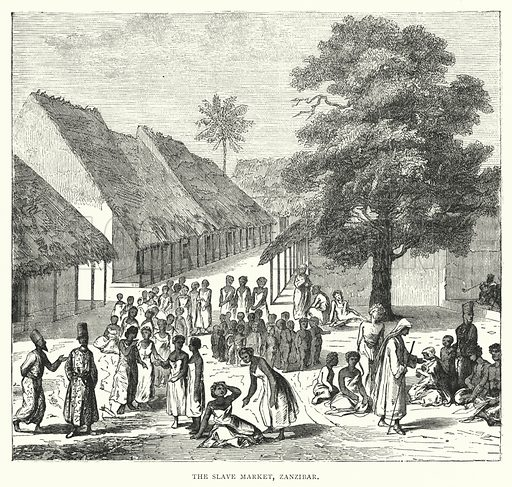 The Slave Market, Zanzibar. Illustration for The Pictorial History of the British Empire (James Sangster, c 1880).