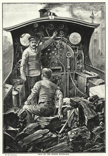 Told on the Engine Footplate. Illustration for The British Workman (1897).