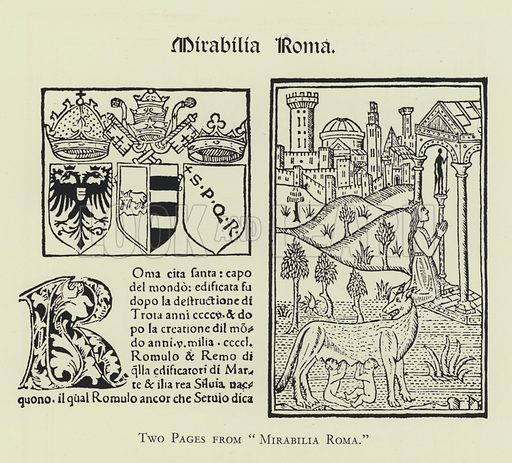 "Two Pages from ""Mirabilia Roma."" Illustration for The Brotherton Library, a catalogue compiled by John Alexander Symington (Leeds, 1931)."