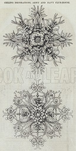 Ceiling Decorations, Army and Navy Club-House. Illustration for The Builder, 19 April 1851.