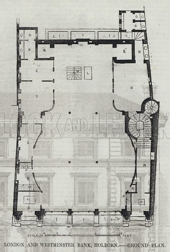 London and Westminster Bank, Holborn, Ground Plan. Illustration for The Builder, 18 June 1853.